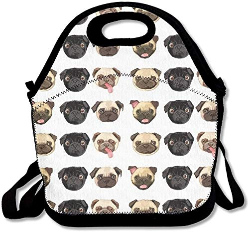 - Black Yellow Pug Insulated Lunch Bag Picnic Lunch Tote For Work, Picnic, Travelling