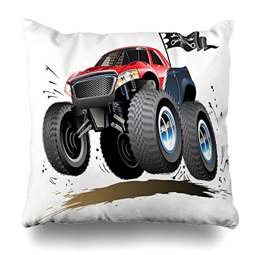 DIYCow Throw Pillow Cover Pillowcase Muscle Hot Monster Truck Available Car Offroad Race Wheel Show Jump Off 4X4 Home Decor Design Square Size 18