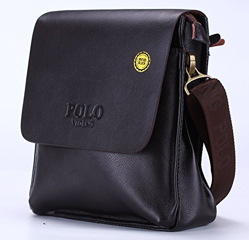 20c6c1dcddd8 VIDENG POLO® Newest Men s Genuine Leather RFID Blocking Secure Briefcase  Shoulder Messenger Bag (V2-brown)  Amazon.in  Computers   Accessories