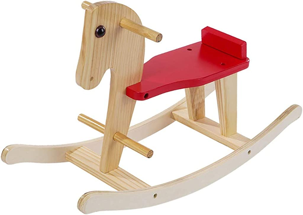 Wooden Rocking Horse, Baby Wood Ride On Toys for 1-3 Year Old, Rocker Toy for Kid, Toddler Ride Animal Indoor/Outdoor