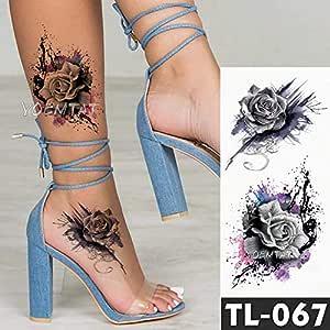 Handaxian 3 Piezas Tatuaje Pegatina Flor Oscura Brazo Hombro ...