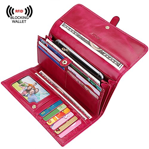 S-ZONE Women's RFID Blocking Real Leather Long Organizer Wallet Card Holder Ladies Clutch (Hot (Lady Hot Pink Leather)