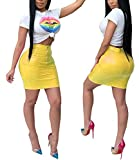 Dreamparis Women's Casual 2 Pieces Outfits Short Sleeve Round Neck T Shirt Top + Faux Leather Wetlook Bodycon Mini Skirt Small Yellow