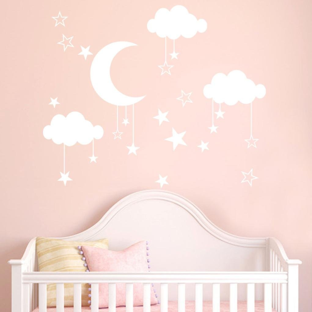 Wall Stickers, Pumsun Moon Clouds Star Wall Decals, Children's Room Home Decoration (White)