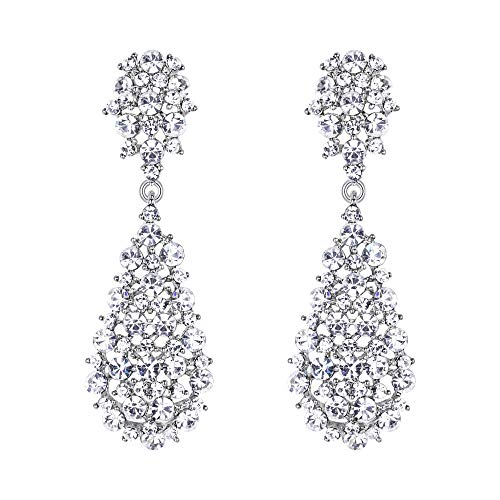 - EVER FAITH Women's Austrian Crystal Wedding Hollow-out Teardrop Dangle Earrings Clear Silver-Tone