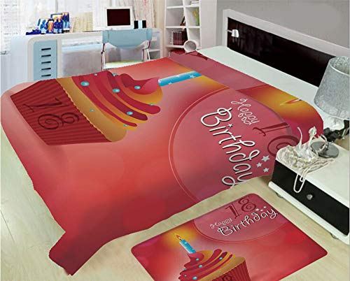 3D Printed Throw Blanket Custom Design Floor Mat Carpet Rug,Eighteen Party Birthday Cupcake with Candles,Well Keep Warm with Supersoft Hand Feeling,add a lot of Color to Your Life ()