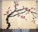 Ambesonne Japanese Decor Collection, Traditional Chinese Paint Style of Figural Tree with Highly Detail Brushstroke Effects, Living Room Bedroom Curtain 2 Panels Set, 108 X 84 Inches, Pink Brown