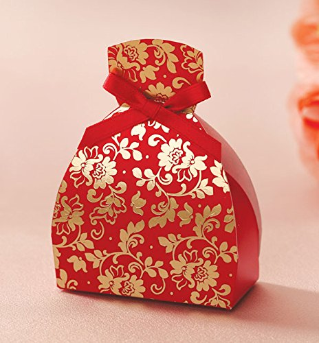 Joinwin 100x Black Red Wedding Favor Boxes Bride And Groom Floral