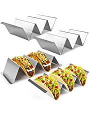 Taco Holder Stand with Handles, Set of 4, Stainless Steel Taco Rack Serving Trays, Easy To Fill Tacos Plates, Oven Grill Dishwasher Safe, Shell Baking Racks
