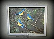 """Recycled Old window Screen hand painted """" B"""