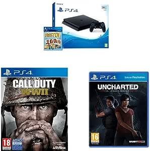 PlayStation 4 (PS4) - Consola De 500 GB, Color Negro + Voucher ¡Has Sido Tú! + Call Of Duty WWII + Uncharted: El Legado Perdido: Amazon.es: Videojuegos