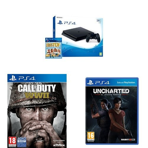 PlayStation 4 (PS4) - Consola De 500 GB, Color Negro + Voucher ¡Has Sido Tú! + Call Of Duty WWII + Uncharted: El Legado Perdido