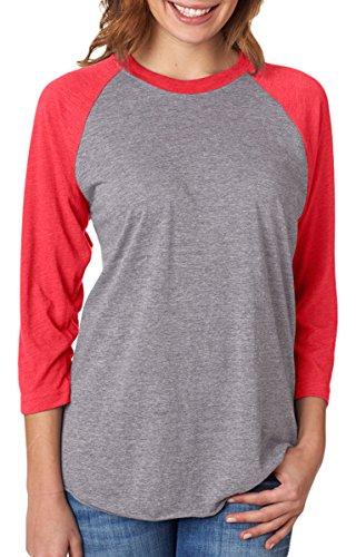 Next Level Apparel 6051 Unisex Tri-Blend 3 By 4 Sleeve Raglan - Vintage Red & Premium Heather,
