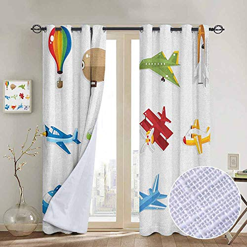 Chrome Pedal Plane - NUOMANAN Kitchen Curtains Boys,Aircrafts with Cartoon Style Jet Airliner Zeppelin Regular Plane and Hot Air Balloon, Multicolor,Rod Pocket Drapes Thermal Insulated Panels Home décor 84