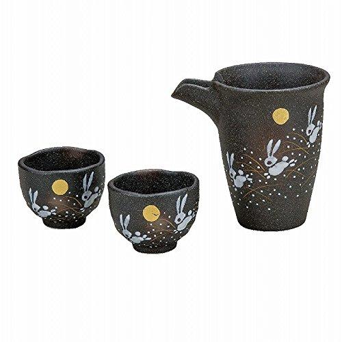 Jpanese traditional ceramic Kutani ware. Sake Tokkuri bottle and sake cups. Sake set. Jumping rabbit. With paper box. ktn-K5-1180