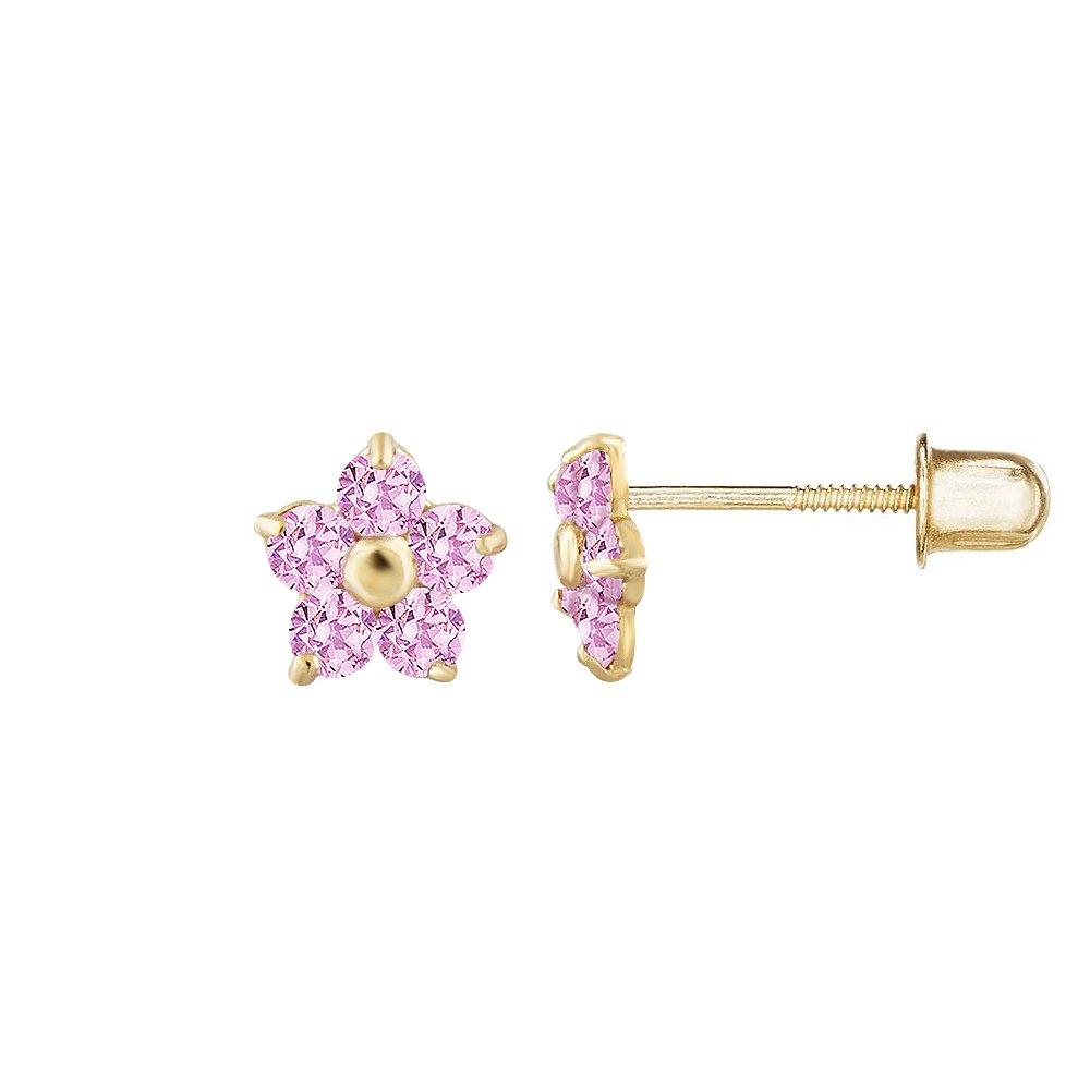 14kt Solid Gold Kids Flower Stud Screwback Earrings
