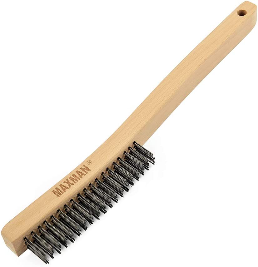 Solid Carbon Steel Wire Brush for Rust Removal 2 Large Handle Wire Brushes with 10 Long Sturdy Curved Wood Handle by SAN JIAN Wire Brush