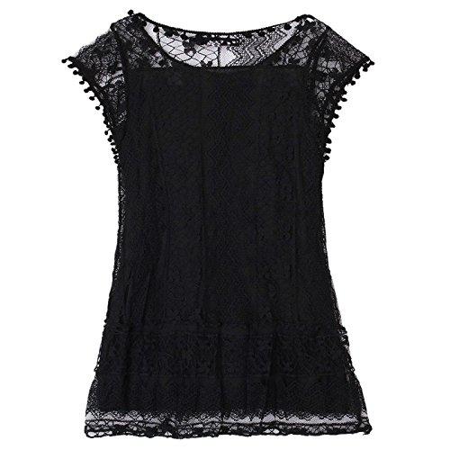 robe de la plage Nouvelle US avec Mini dentelle blanc creuse sexy frange pure d'ete a de 2 loisirs SODIAL femmes robe robe mode Noir sans en des courte manches S wxd7xTtq