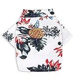Feikulong Dog Hawaiian Shirt, Summer Pet Beach Vest Short Sleeve Pet Clothes Floral Pineapple Dog Jacket for Small Pet (M, White)