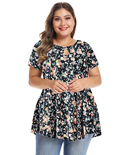 MONNURO Womens Short Sleeve Flare Swing Tunic Tops Plus Size Casual Loose Fit Shirts Blouses Floral05 L