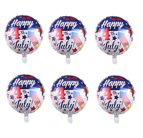 6pcs Happy 4th of July Foil Balloons Round American Patriotic Party Balloons for USA Memorial Day Independence Day 18 Inch
