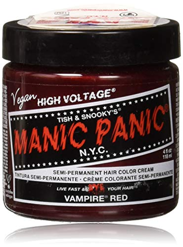 (Manic Panic Vampire Red Color Cream – Classic High Voltage - Semi-Permanent Hair Dye - Vivid, Red Shade - For Dark, Light Hair – Vegan, PPD & Ammonia-Free - Ready-to-Use,)