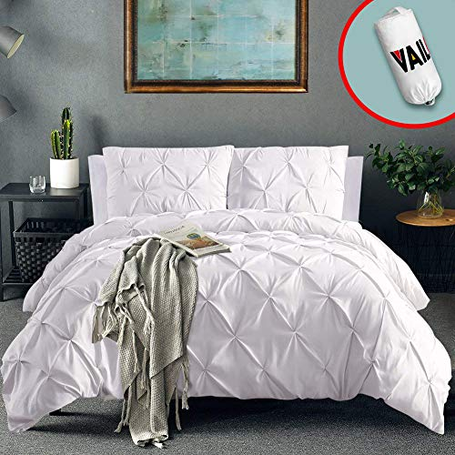 Vailge 3 Piece Pinch Pleated Duvet Cover with Zipper Closure, 100% 120gsm Microfiber Pintuck Duvet Cover, Luxurious & Hypoallergenic Pintuck Decorative(White, Queen) (Cover White Duvet Purple And)