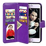 iPhone 6 Case, Vofolen 2 in 1 iPhone 6S Case Wallet Folio Flip PU Leather Case Protective Shell Magnetic Detachable Slim Back Cover Card Holder Slot Wrist Strap for iPhone 6 6S 4.7 inch (Purple)