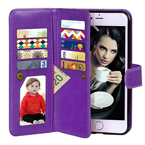 Vofolen 2 in 1 Case for iPhone 6 Case iPhone 6S Case Wallet Folio Flip PU Leather Case Protective Hard Shell Magnetic Detachable Slim Back Cover Card Holder Slot Wrist Strap for iPhone 6 6S Purple