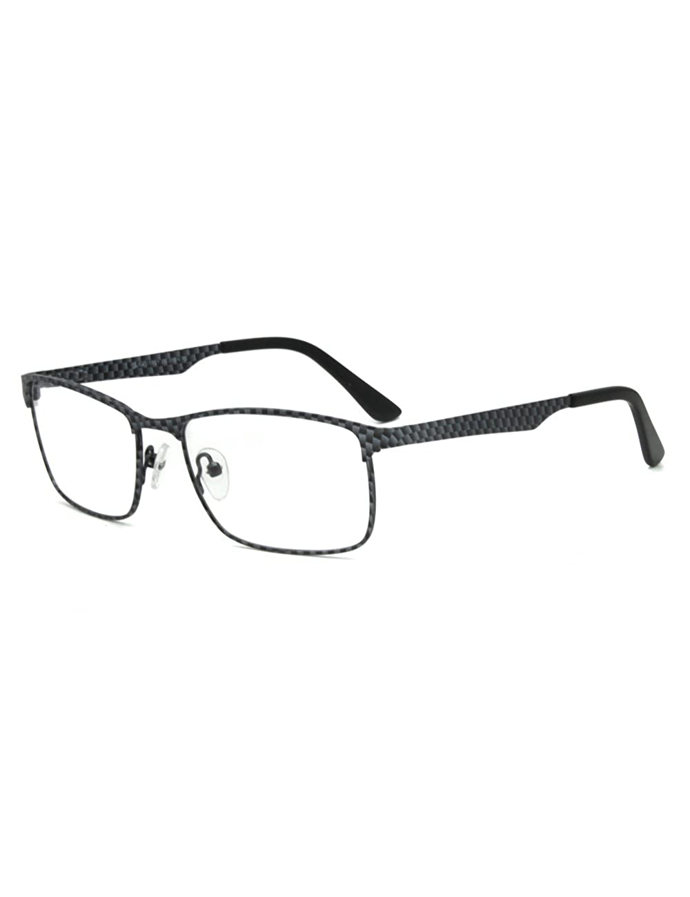 Men Vogue Carbon Fiber Pattern Metal Clear Lens Eyeglasses