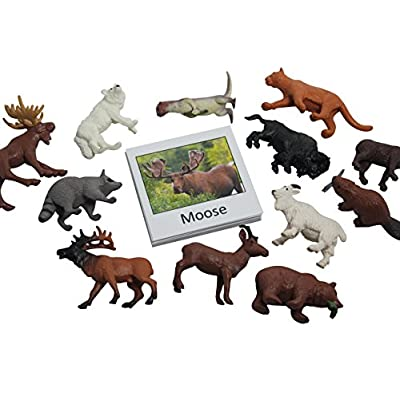 Montessori Animal Match - Miniature North American Wildlife Animal Toy Figurines with Matching Cards - 2 Part Cards. Montessori Learning Toy, Language Materials Busy Bag Activity: Toys & Games