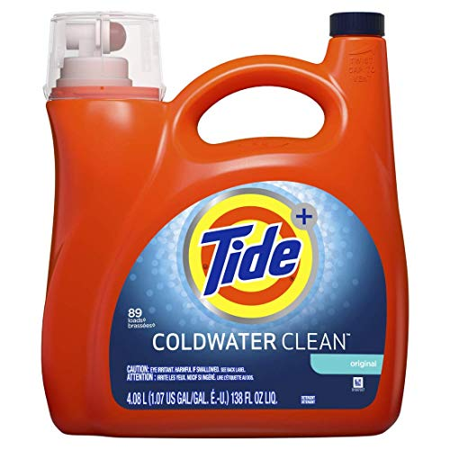- Tide HE Coldwater Turbo Clean Liquid Laundry Detergent, Original, 89 Loads, 138 Oz
