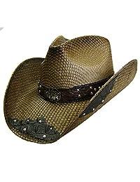 Modestone Unisex Straw Cowboy Hat filigree Brown & Black
