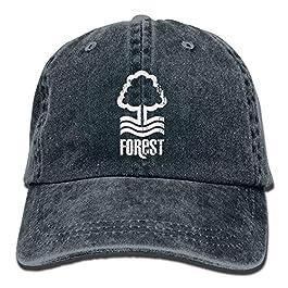 Kpaoaz Nottingham Forest Distressed Men's Black Adjustable Vintage Washed Denim Baseball Cap Dad Hat Trucker Cap