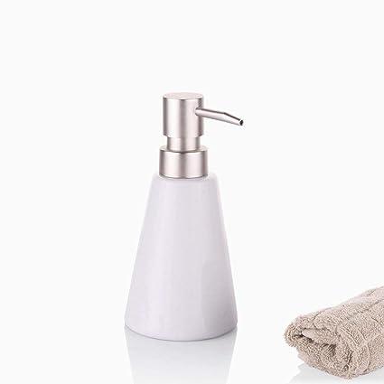 Ouken Dispensador de jabón Acero Inoxidable Bombas Blanco cerámica Mano jabón dispensador baño Accesorios