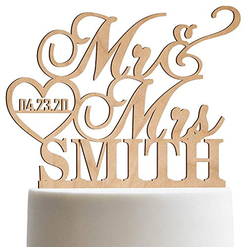 Personalized Wedding Cake Topper Mr Mrs Heart Customized Wedding Date And Last Name To Be Bride & Groom | Wooden Cake -