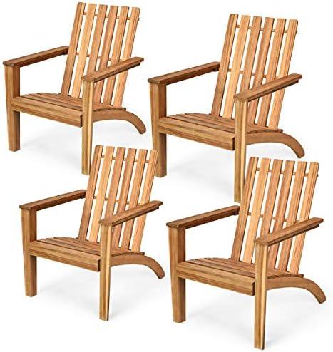 Giantex Wooden Adirondack Chair W/Ergonomic Design Outdoor Chair
