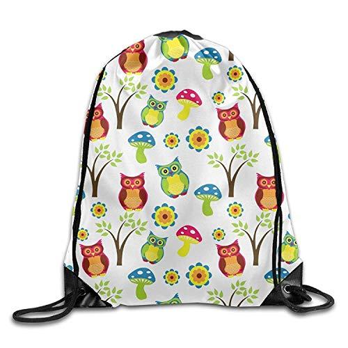 Beatybag 3D Print Drawstring Bags Bulk, Gym Drawstring Bags Owl Mushroom Tree Draw Rope Shopping Travel Backpack Tote Student Camping