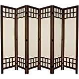 Oriental Furniture 5 1/2 ft. Tall Window Pane Fabric Room Divider - Burnt Brown - 6 Panel