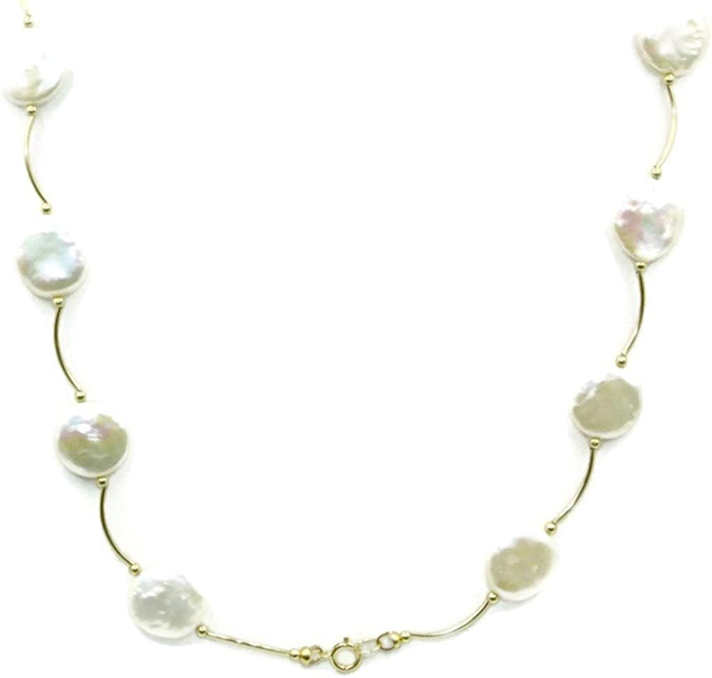 18 Inches Freshwater White Coin Pearl Necklace 14k Yellow Gold Spacer