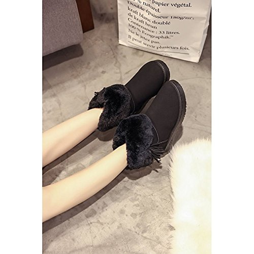 Calf Boots Winter Black Pink for Snow Casual Round Pink Low Mid HSXZ PU Gray ZHZNVX Women's Shoes Heel Boots Toe Boots xTOqnIY