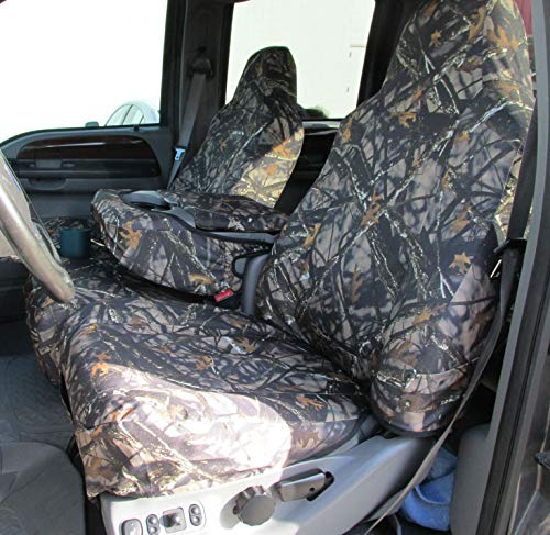 Durafit Seat Covers made to fit 2002-2010 Ford F250-F550 Super Duty, Front 40/20/40 Split Bench Seat with High Back Buckets Seats, Exact Fit Seat Covers, Durable & Rugged, in Endura Fabric (Lost Camo)