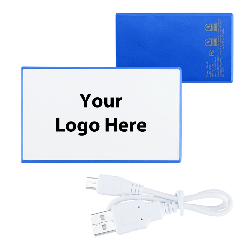 Slim Plastic Credit Card Power Bank Charger UL Certified - 15 Quantity - $17.25 Each - PROMOTIONAL PRODUCT / BULK / BRANDED with YOUR LOGO / CUSTOMIZED by Sunrise Identity