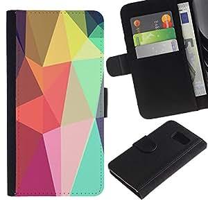 Billetera de Cuero Caso Titular de la tarjeta Carcasa Funda para Samsung Galaxy S6 SM-G920 / Shapes Lollipop Android Purple / STRONG