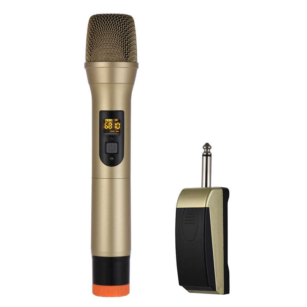 Walmeck Wireless Microphone UHF Handheld Wireless Microphone Mic System 48 Channels for Karaoke Business Meeting Speech Home Entertainment