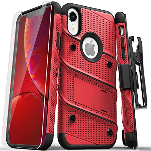 Zizo Bolt Series Compatible with iPhone XR Case Military Grade Drop Tested with Tempered Glass Screen Protector Holster and Kickstand RED Black