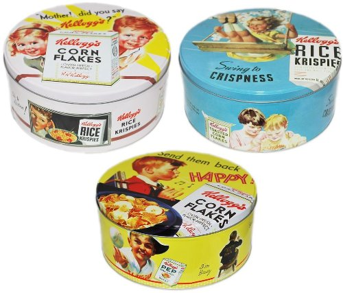 RETRO STYLE KELLOGGS ROUND CEREAL TIN BOX STORAGE CONTAINER COOKIE TEA DRY FOOD - ONE IS SUPPLIED Sifcon