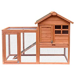 Merax Rabbit Hutch Indoor & Outdoor Bunny Cage Pet House Chicken Coop with Removable No Leakage Tray 1
