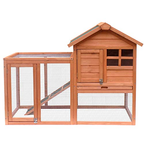 Merax Pet Rabbit Hutch Bunny Cage Wooden House Chicken Coops (Natural) - Hutch Wooden Rabbit