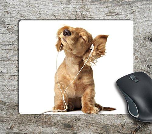 Cute Puppy Listens Music Computer Mousepad Mouse Pad Mouse Mat Matt Pad Antislip